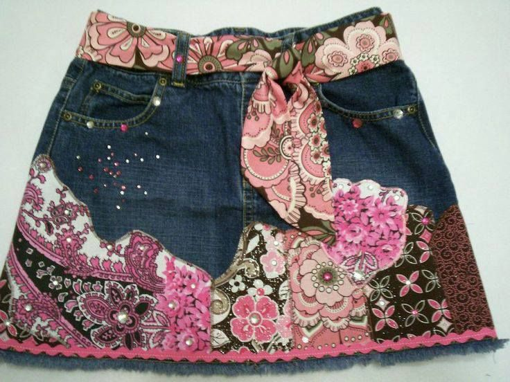 Crazy Patchwork Skirt Appliqued Denim