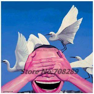 Китай известный современный художник minjun юэ Хип-хоп улыбающееся лицо холст Современная Декоративная Абстрактное искусство walloil живопись 49
