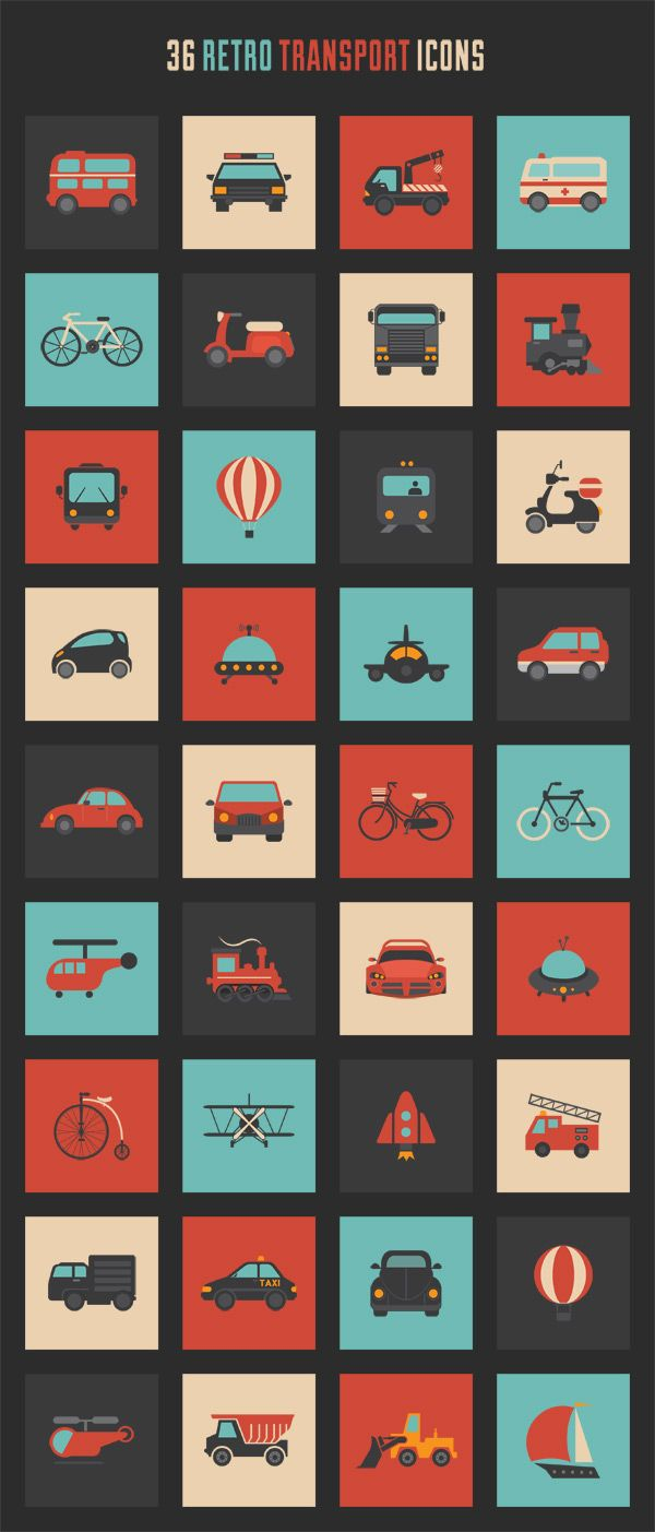 This exclusive pack of retro transport icons is available for all Designer Daily subscribers. It was designed by the amazing team at Vecteezy and can be do