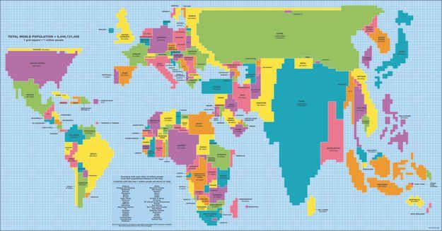 Australia shrinks in world map adjusted for population size (1 grid square = 1 million people)