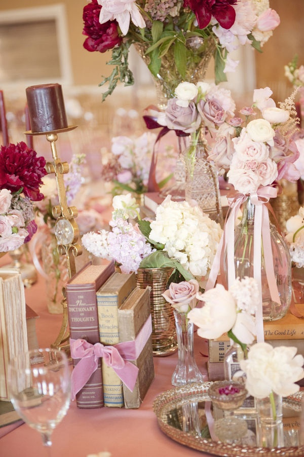 An Elegant Setting for A Reading Club Luncheon...Ribbons, Flowers, Crystal and Books
