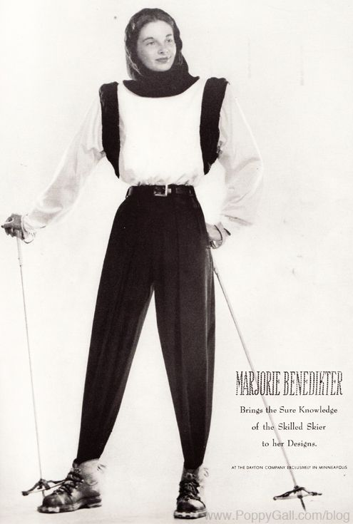 Designer Marjorie Benedikter's 1948 ski fashion shared by http://www.myskiholiday.com