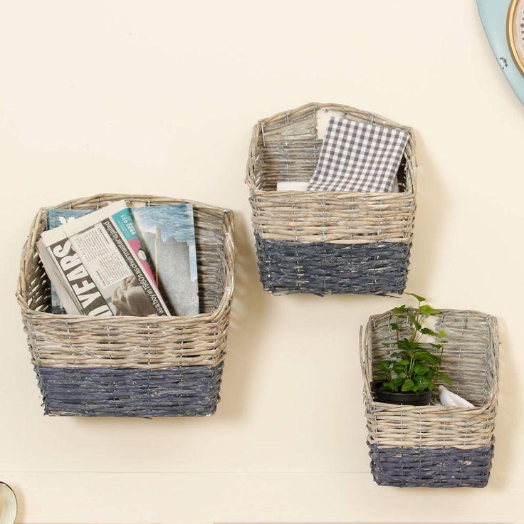 Grey Cottage Woven Storage Bins: Set Of Three Wicker Nautical Wall Storage Baskets