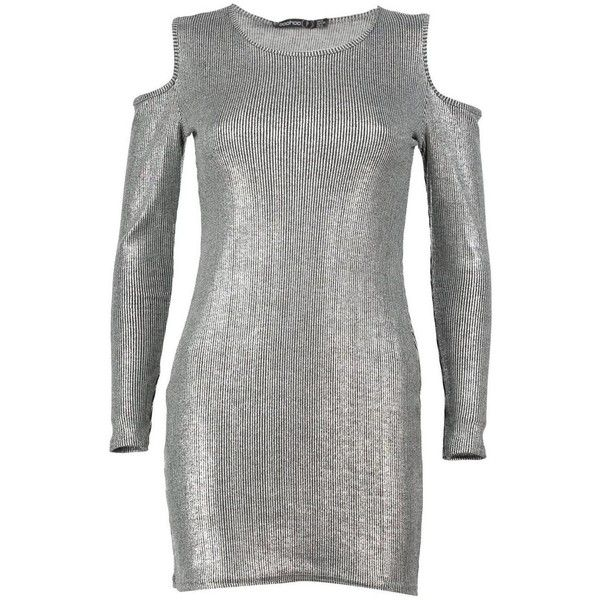 Boohoo Petite Emily Cold Shoulder Metallic Rib Dress (€18) ❤ liked on Polyvore featuring dresses, petite white dresses, cut-out shoulder dresses, white dress, petite dresses and open shoulder dress