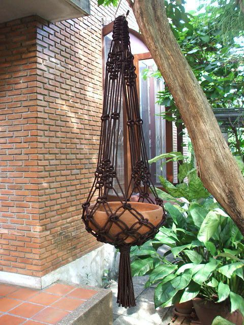 "Two arms Macramé Plant Hanger Model X in dark brown color, perfect for 6 - 7 ½"" (15-19 cm) diameter plant pot. The hanger is made of Nylon braided"