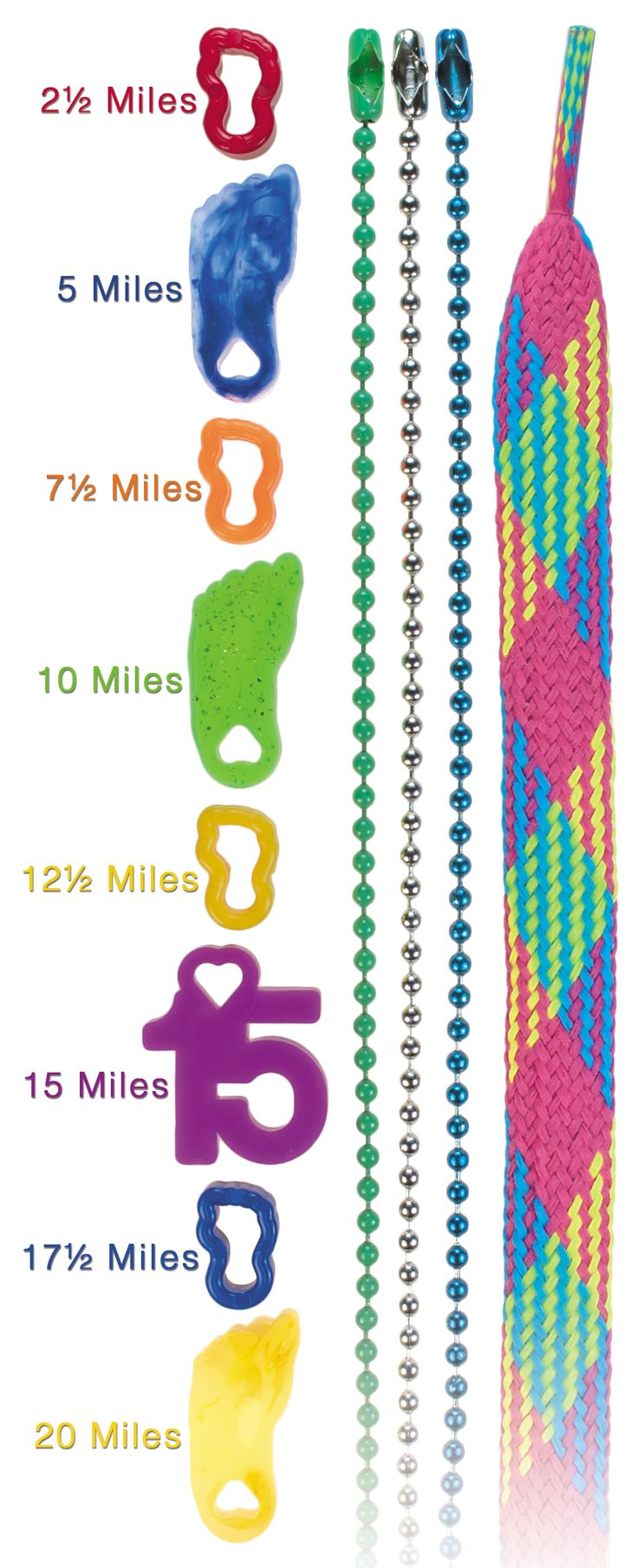 Whether Chains or Laces, 'Tween Toes, Toe Tokens, Twirl Toes, Numbers, and MORE - Your Students Rack Up the Miles, We've Got Your Rewards. Check Out the Variety at: http://www.fitnessfinders.net//Mileage-Club-s/322.htm