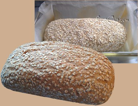 A Beautiful, plump, high #fiber #oatmealbread sweetened with #molasses and prepare with large flake #oatmeal, #psylliumFiber, and #organic #wholewheat and white #lour. I just love a fresh, #homemade #loaf of #bread.  Go #gluten! :-) Recipe @ http://www.foodcult.com/oatmealbread.php  - #food matters!