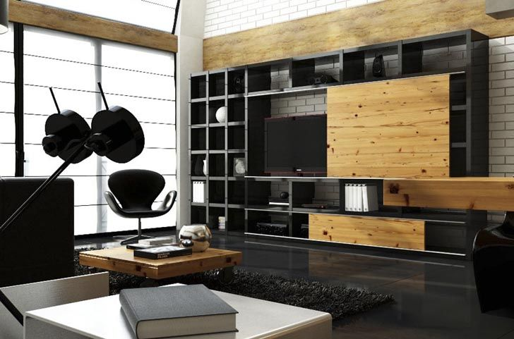 Cutaway Apartment Full Furnitures Modern Design: Full Height Tv Cabinet Display Case Black Modern