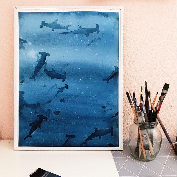 Original Watercolor Painting Underwater Ocean Sea Painting Sharks