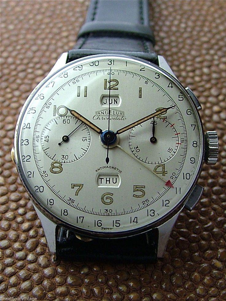 1000 images about m accessoire design men leather vintage stainless angelus chronodato triple calendar chronograph watch