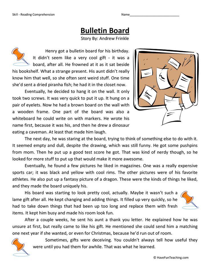 Bulletin Board Reading Comprehension Worksheet Reading