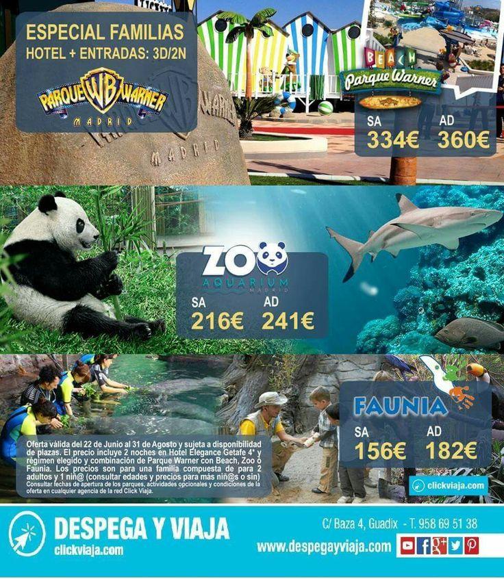 📣 Escapadas de verano para #familias 📣 3D/2N en Hotel 4* + entradas, a elegir combinación de Parque Warner con Beach Madrid   Zoo Aquarium de Madrid o Faunia, parque temático de la Naturaleza. Oferta válida del 22 de Junio al 31 de Agosto y sujeta a disponibilidad de plazas. Y ahora pagas tus VACACIONES A PLAZOS SIN INTERESES. Ven a visitarnos o infórmate llamándonos al 958695138. Y además al hacer tu reserva te regalamos 50€. #DespegayViaja, tu agencia profesional de viajes. 365 días al…