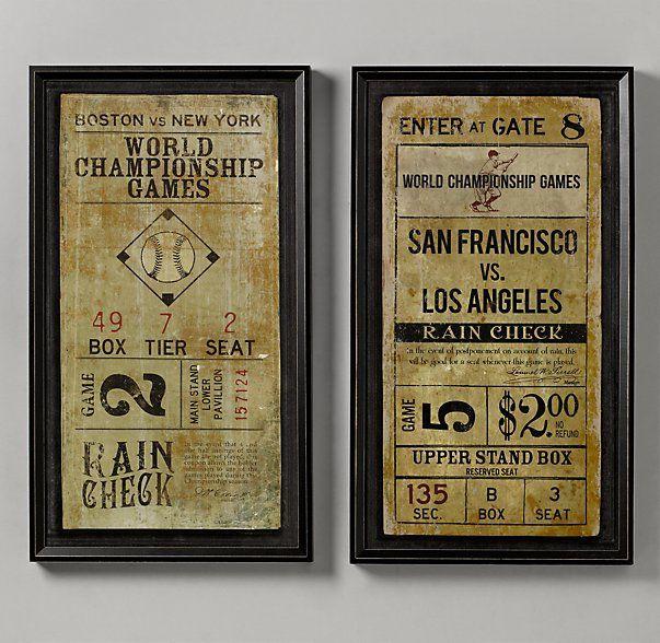 Vintage Baseball Ticket Art Boys bedroom baseball framed prints $149