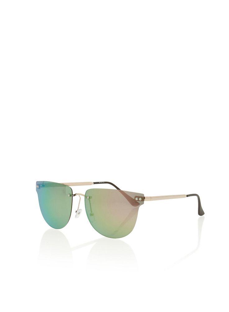 Frameless Mirror Lens Sunglasses,GREEN