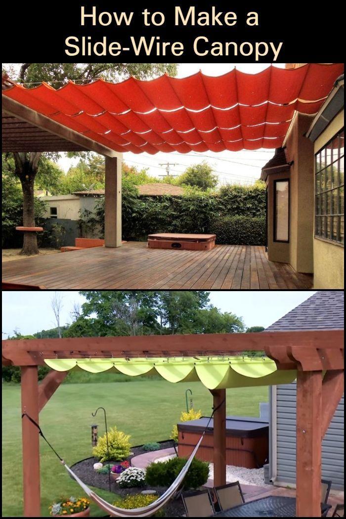 How To Make A Sliding Wire Hung Canopy Pergola Patio Ideas Diy Slide Wire Canopy Backyard Pergola