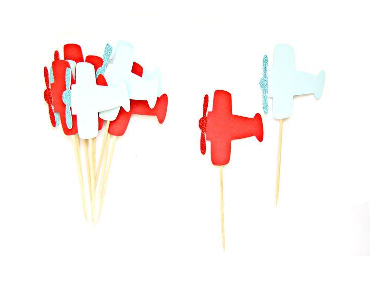 Arredamento partito di rosso e blu aereo Cupcake di Pelemele