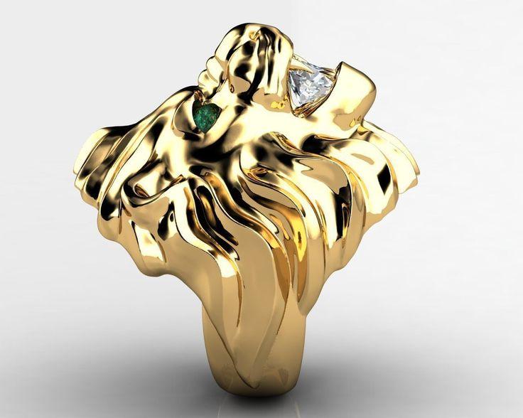 Diamond King Lion Ring 3D Model 3D printable STL 3DM - CGTrader.com