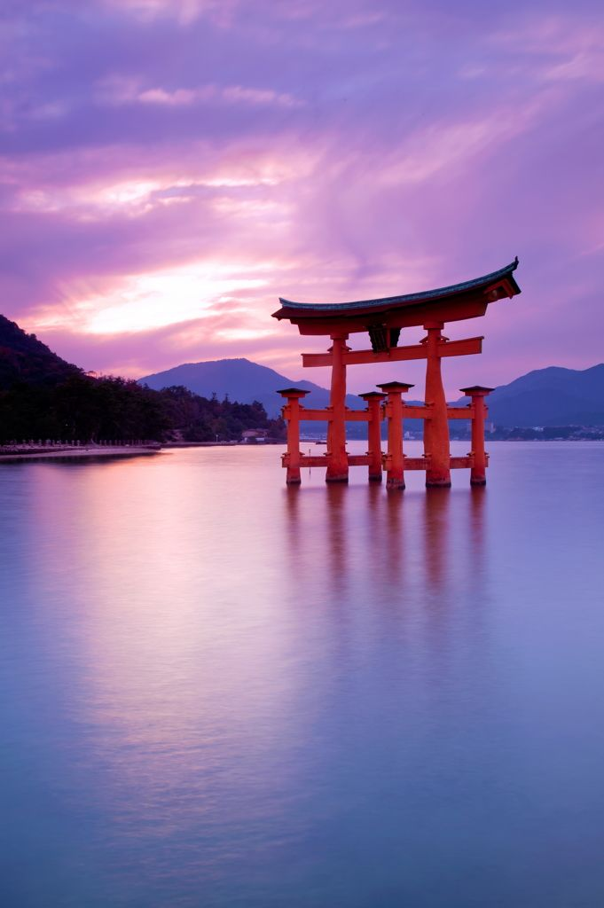 Torii gate of Itsukushima shrine separating secular Japan from spiritual Japan, Hiroshima,