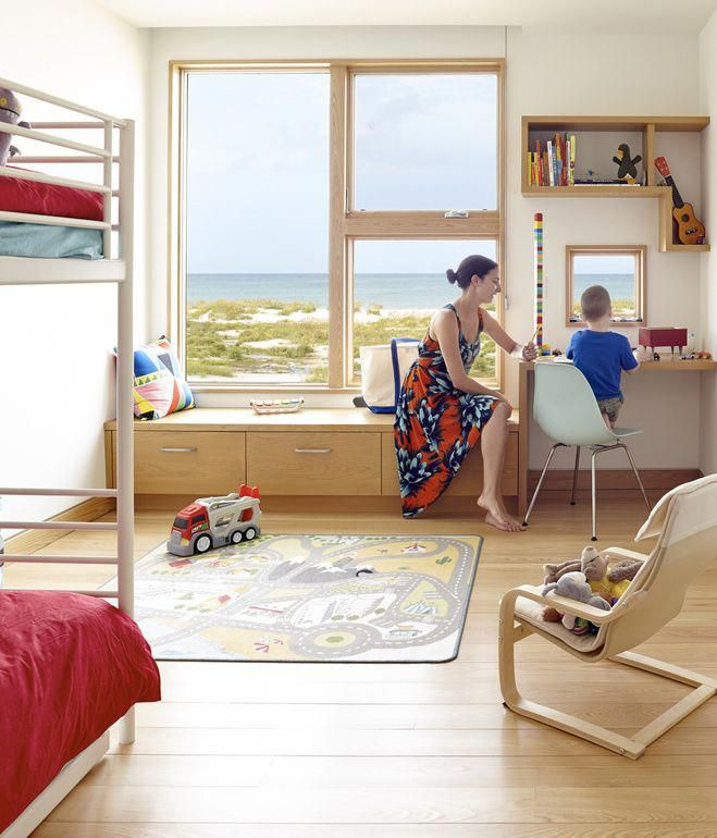 The kids\u0027 bedroom sports an Ikea bunk bed and trundle, which leaves