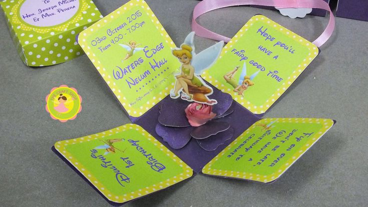 Tinkerbell Invitation, Fairy invitation, pop up invitation /// Handmade by CraftShopLK on Etsy