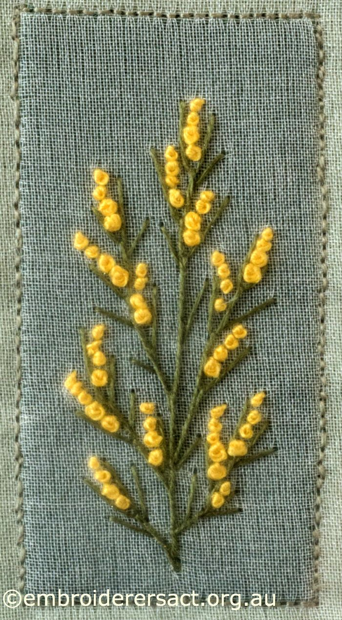 Wattle from Australian Landscape and Flora stitched by Lorna Loveland