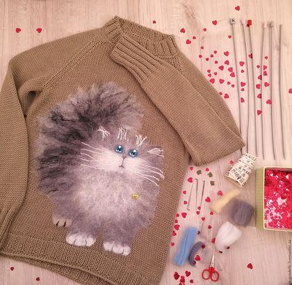 Кофты и свитера ручной работы. Ярмарка Мастеров - ручная работа. Купить Свитер вязаный Cat (20). Handmade. Бежевый, для отдыха