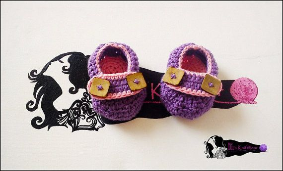 Baby Purple-Pink Spring Shoes by EllisKnitwearShop on Etsy