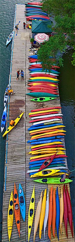 "Kayaks on the Potomac by Michael Porterfield. ""On the photo walk in Georgetown last night we saw these kayaks from the Key Bridge. The colors were too good to pass up."""