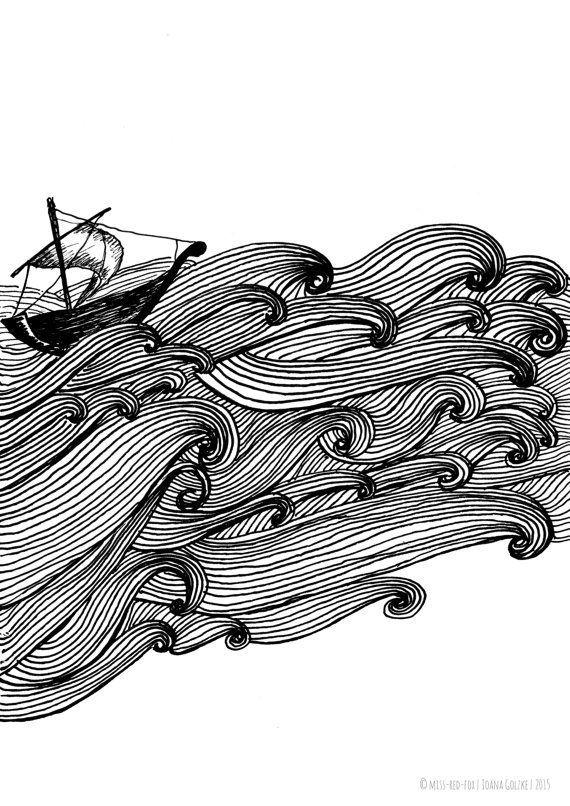 """missredfox – Print """"Ship on the Sea"""" – bnw, black & white, graphic, art, drawing, decoration, waves, ocean // Poster Druck """"Ship auf dem Meer"""" – schwarz weiß, Wellen, Ozean, grafisch, Kunst, Zeichnung, Deko, Geschenk"""