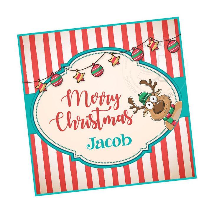 "Custom Christmas Printable 2.5'' Tags- Retro style tag of  Reindeer Christmas Wishes Personalized Tags-DIY (You Print) 2.5"" tags-Digital File"