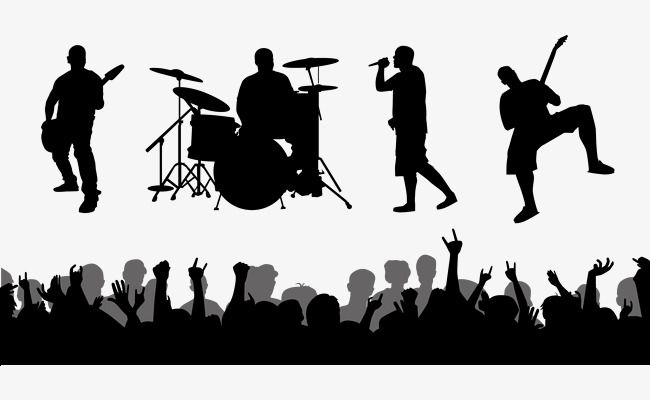Download Rock Band Live Performances Vector Silhouettes, Band ...