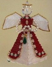 Majestic Angel Christmas Ornament at Sova-Enterprises.com ♥♥♥♥♥♥♥ You have to have an Angel on a tree, and she has to have a bell. The Majestic Angel (seen in the Nov/Dec 2006 issue of Bead and Button) is my favorite angel because her dress is so elegant. I also love the fact that the halo that sits above her head is a little tilted, which makes her an angel with an attitude.