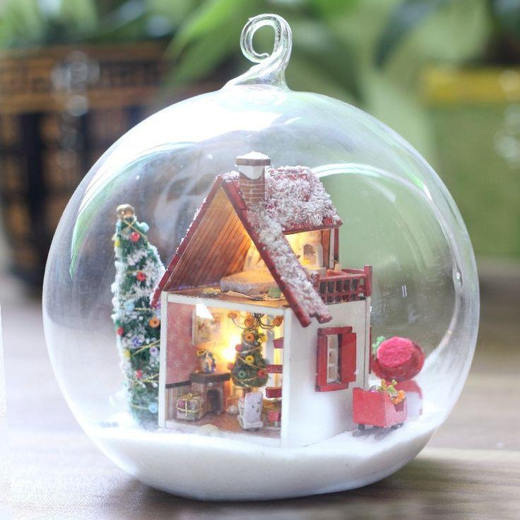 Белое рождество миниатюрный кукольный домик поделки мини домой стеклянный шар рука дом с из светодиодов огни DIY игрушка комплект поделки ручной работы хижинакупить в магазине Fashion Shop 7наAliExpress