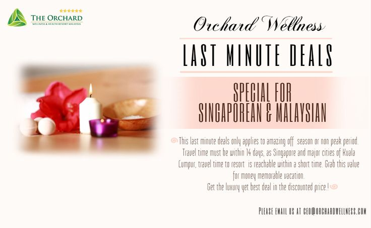 Get the luxury yet best deal in the discounted price! :)  #orchardwellness #spa #resort #malaysia #lastminutedeals #deals #promo #melaka #singaporean #malaysian #wellness