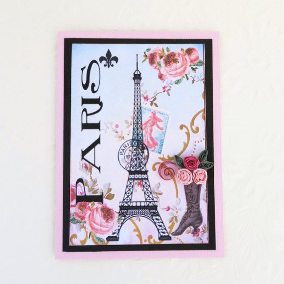 Paper Quilled Card Paris Birthday Card Eiffel by EnchantedQuilling
