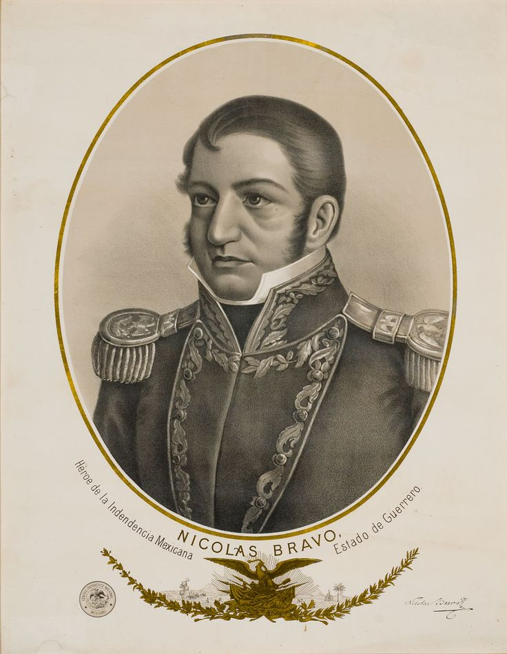 Nicolas Bravo Centro Patriótico Nacional Mexicano / Mexican National Patriotic Center Siglo XIX /XIX Century Litografía / Litography  94x77.5 cm. Colección Museo de Historia Mexicana / Colection from the Museum of Mexican History   #mexican #history #Mexico #historia #independencia #independence #drawing #NicolasBravo #1810