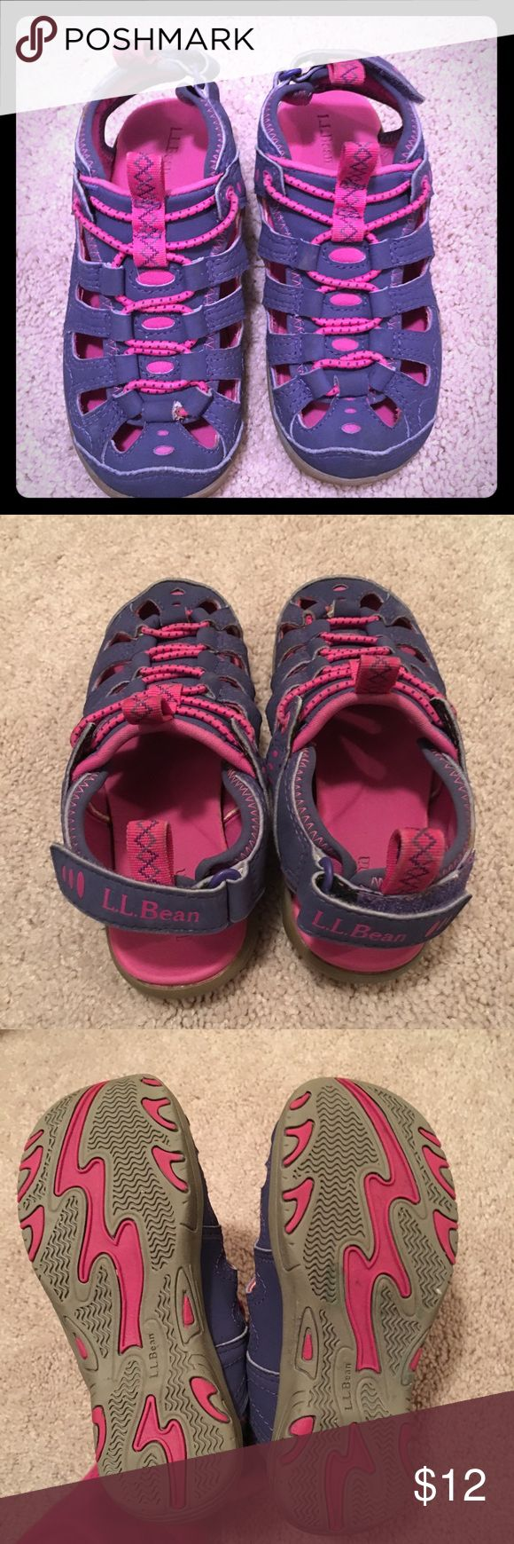 L.L. Bean Toddler Girls Exploring Sandals These waterproof sandals are perfect for use as pool shoes or to wear for playing in a creek. They're in good condition for water play. Some signs of wear (see pics).  Comes from a smoke-free & pet-free home. L.L. Bean Shoes Water Shoes