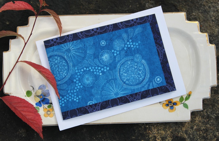 naturewrap greeting card 'White Circles on Blue'   Printed on archival bamboo paper  www.emmajennings.com.au