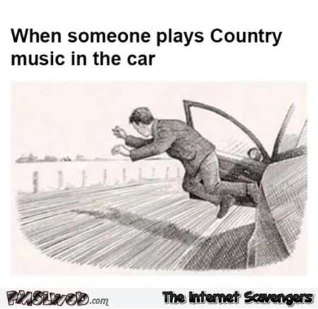 When someone plays country music in the car humor