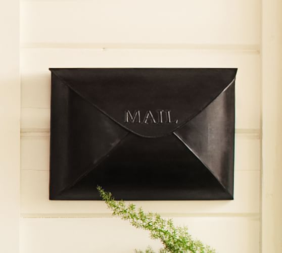 Envelope Mailbox Vintage Brass Finish At Pottery Barn Outdoor Front Door Decor In 2019 Home Decor Advice Metal Mailbox Porch Mailbox Mounted Mailbox