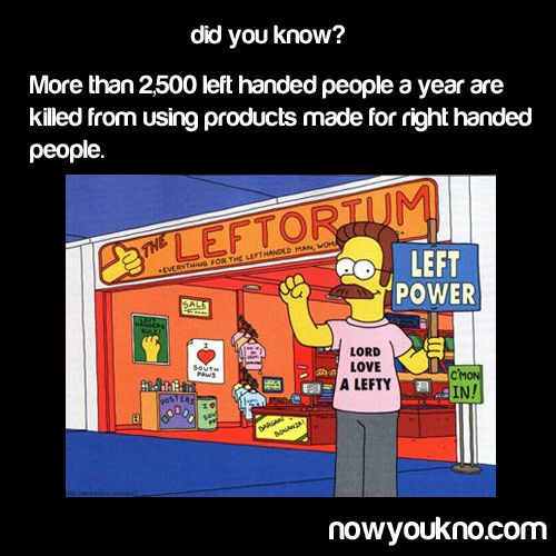 I was raised by right-handed parents, and therefore I have developed an immunity to this danger.  In fact, I find left-handed scissors and can openers very uncomfortable.