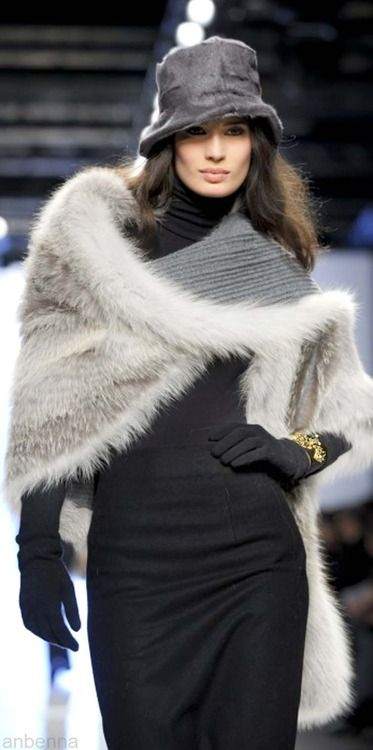 This gorgeous gray fur wrap is beyond desirable by Simonetta Ravizza.