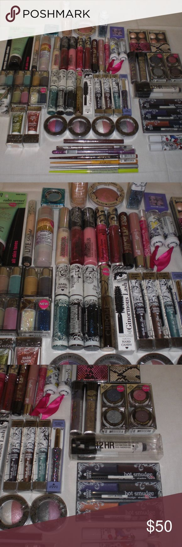 Hard Candy Makeup Cosmetics Mixed Lot of 50 Pieces Hard Candy Cosmetics Lot of 50 - No Duplicates! Wholesale lot of 50 mixed HARD CANDY cosmetics including a combination of lipstick, lip gloss, eyeshadow, eye liner, eye glitter, mascara, foundation, blush, concealers, loose glitter, temporary body tattoos and MORE. This is top notch, high quality merchandise. There is huge profit in this lot. Model photos to show the different types of item that will be included. Mixes will vary and…