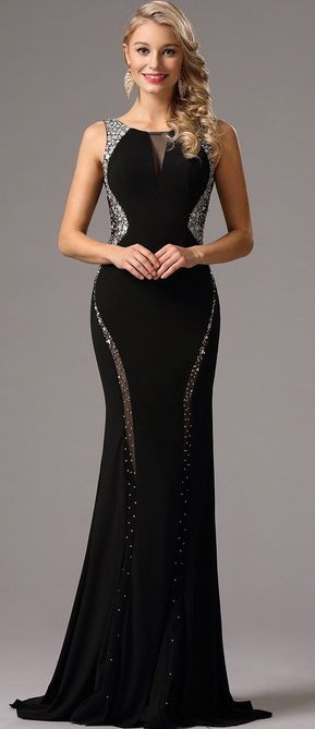 eDressit Black Formal Gown with Beaded Plunging Back