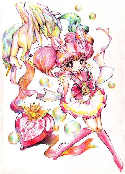 Colored Pencil Fanart Sketch Of Sailor Chibi Moon & Pegasus
