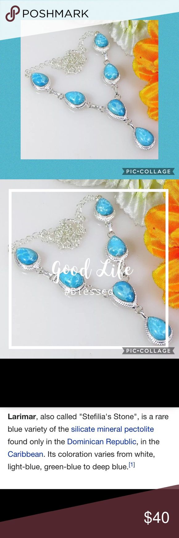 """💠LARIMAR NECKLACE SET IN 925 STERLING SILVER💠 💠GORGEOUS LARIMAR NECKLACE SET IN 925 STERLING SILVER • SIZE: 18""""•                                            COUNTRY OF ORIGIN: DOMINICAN REPUBLIC                                          COUNTRY OF MANUFACTURE: INDIA 💠 Jewelry Necklaces"""