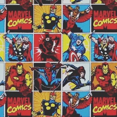 Retro Marvel characters fabric A printed cotton fabric featuring classic Marvel heroes Iron Man Spider-Man Black Widow Nova Falcon Thor Daredevil and Captain America. Ideal for use in crafting as a dress fabric for fancy dress costumes for table cloths and also for use in displays. https://www.littlemisssewnsew.co.uk/shop#!/Retro-Marvel-Characters-100-Cotton/p/102091851/category=22466014 #spiderman #thor #marvel #ironman #nova #fabric #sewing