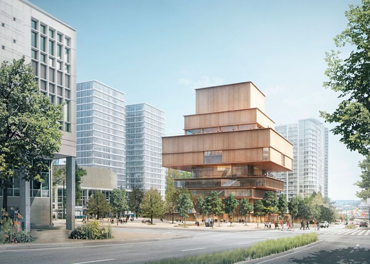 Herzog & de Meuron's design for the Vancouver Art Gallery features a series of stacked volumes clad in wood.