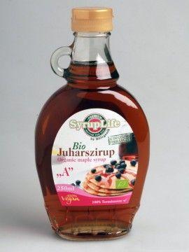 Sirop de arțar Bio categoria A - 250 ml - are o putere de îndulcire mai mare decât a zahărului și aduce un aport caloric mai mic.