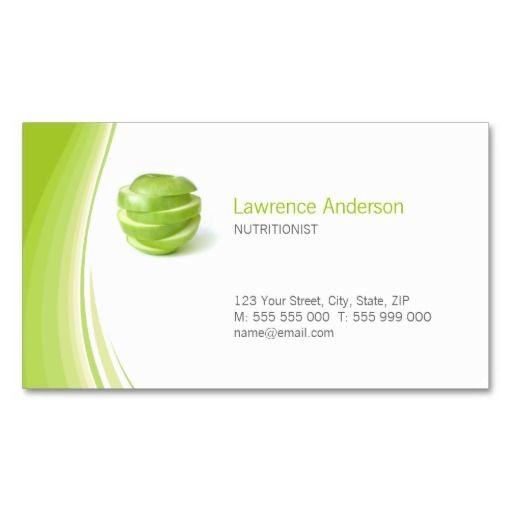 Dietitian nutritionist business card dietitian for Nutrition business cards